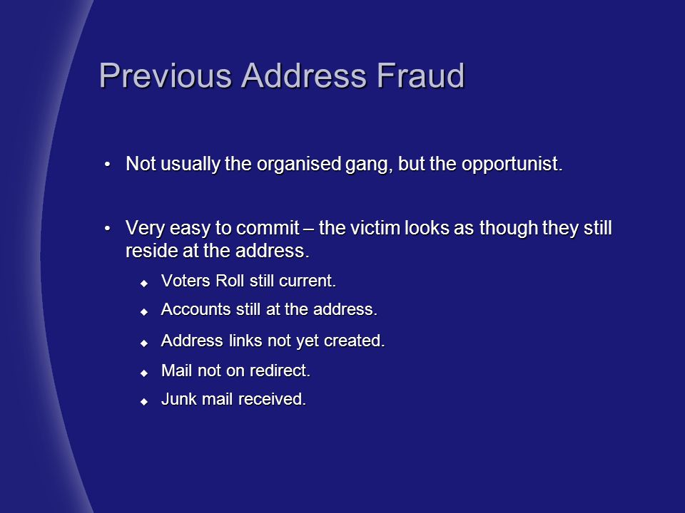 Previous Address Fraud