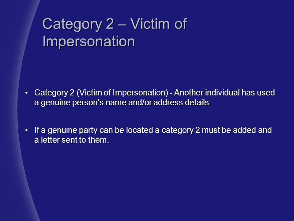 Category 2 – Victim of Impersonation