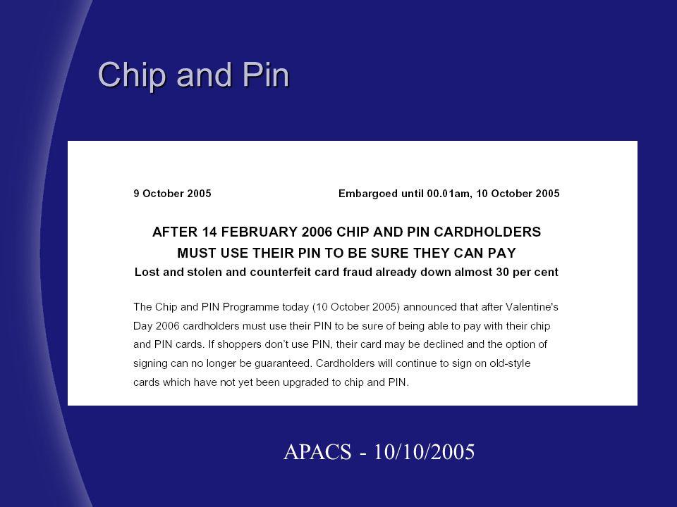 Chip and Pin APACS - 10/10/2005