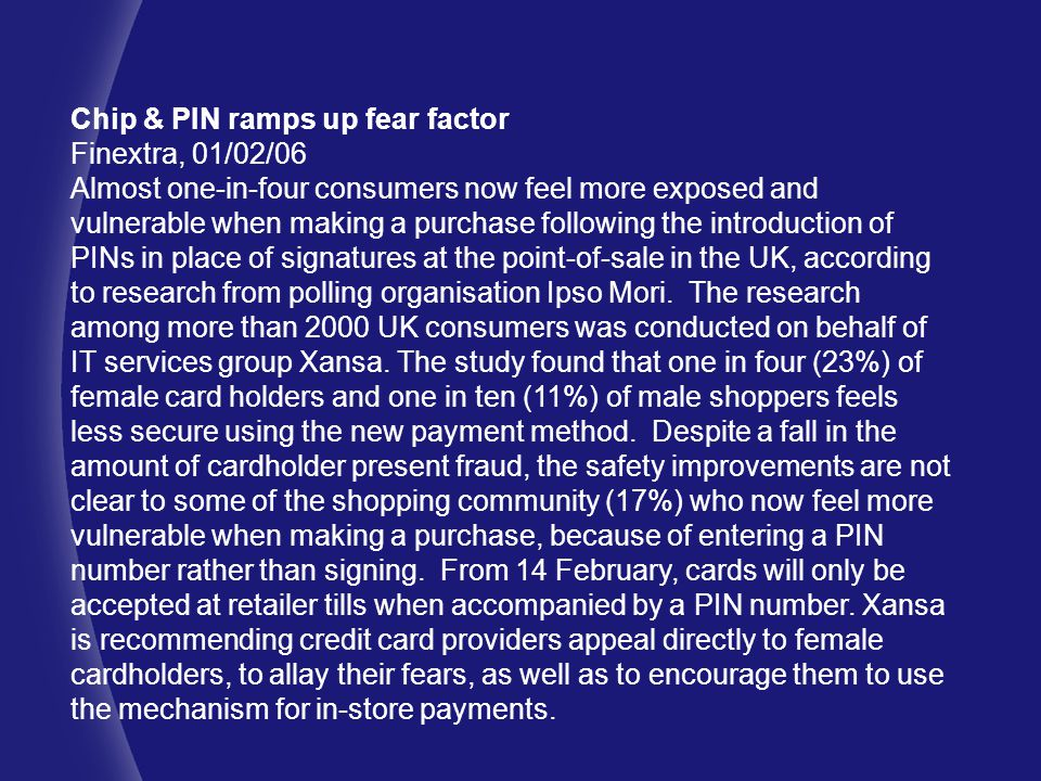 Chip & PIN ramps up fear factor