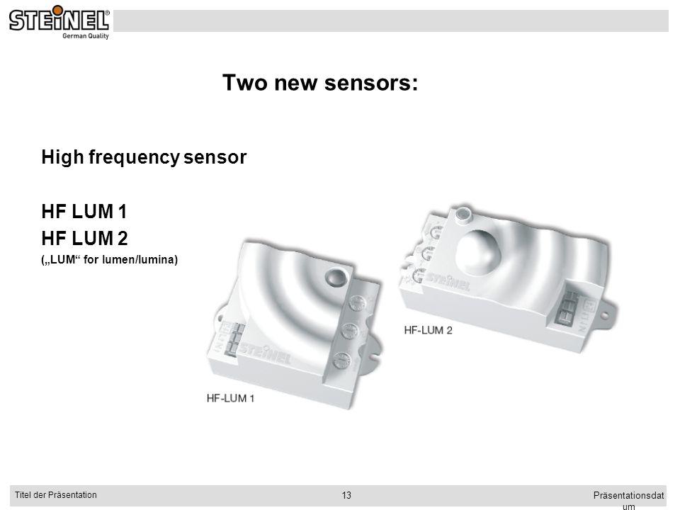 Two new sensors: High frequency sensor HF LUM 1 HF LUM 2