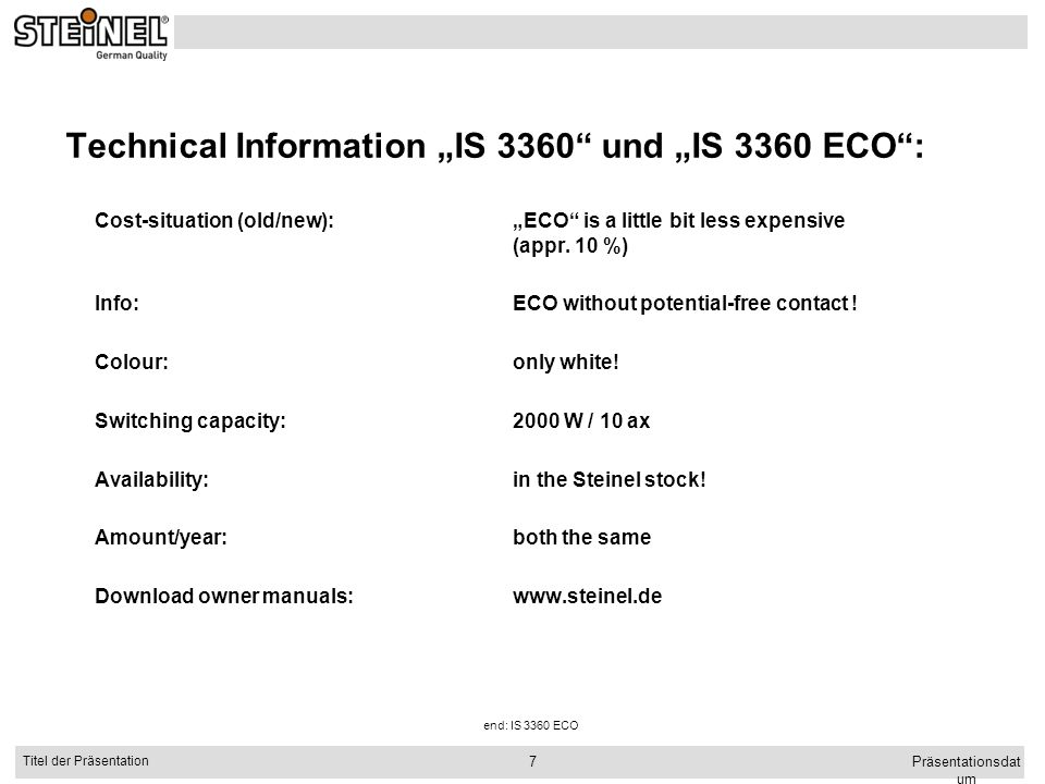 """Technical Information """"IS 3360 und """"IS 3360 ECO :"""