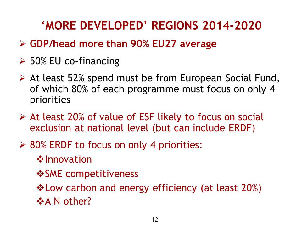 'MORE DEVELOPED' REGIONS 2014-2020