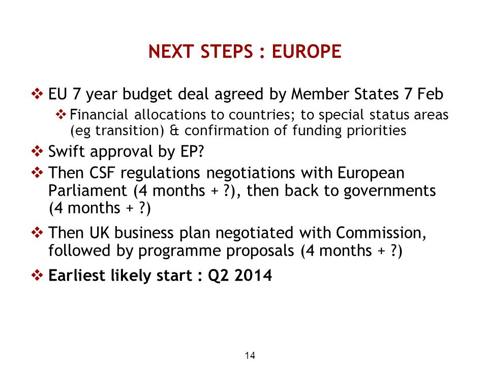 NEXT STEPS : EUROPE EU 7 year budget deal agreed by Member States 7 Feb.