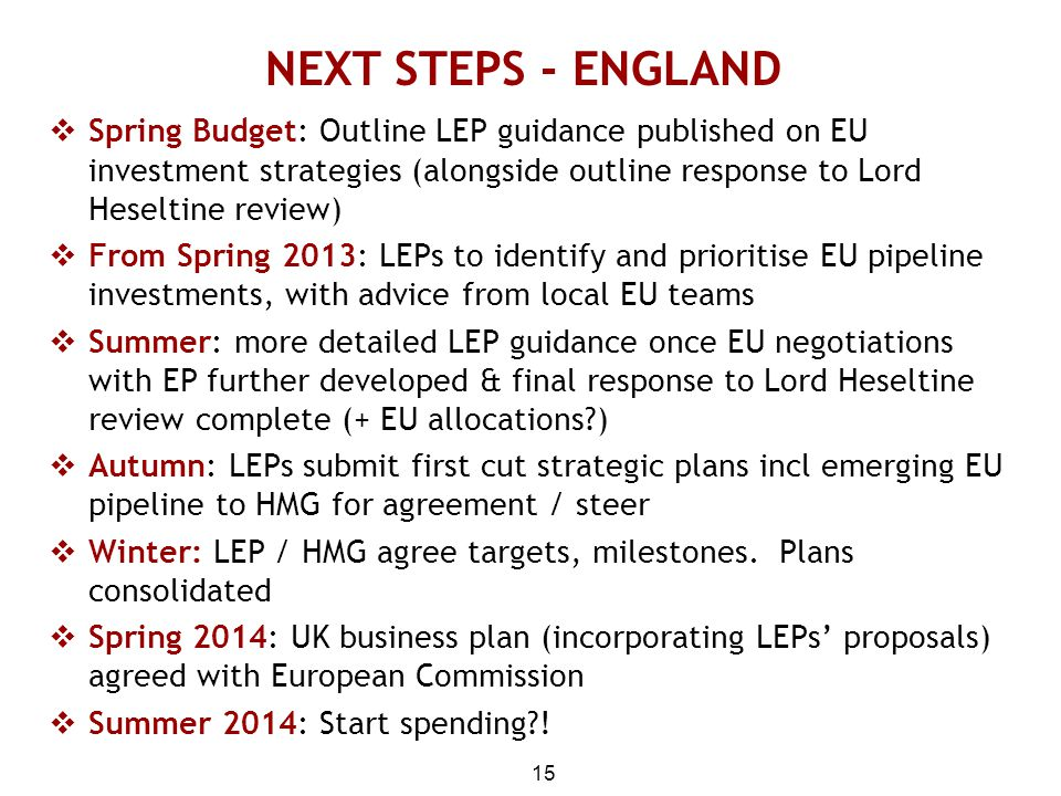 NEXT STEPS - ENGLAND Spring Budget: Outline LEP guidance published on EU investment strategies (alongside outline response to Lord Heseltine review)