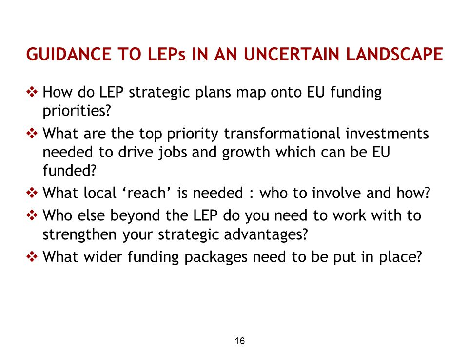 GUIDANCE TO LEPs IN AN UNCERTAIN LANDSCAPE