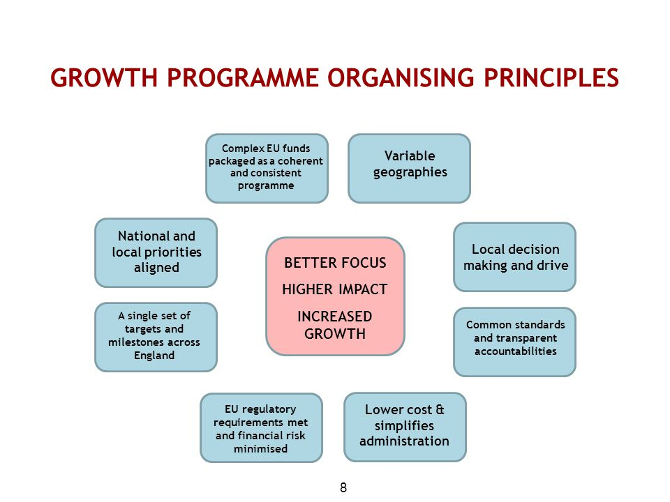 GROWTH PROGRAMME ORGANISING PRINCIPLES