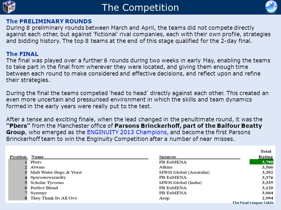 The Competition The PRELIMINARY ROUNDS