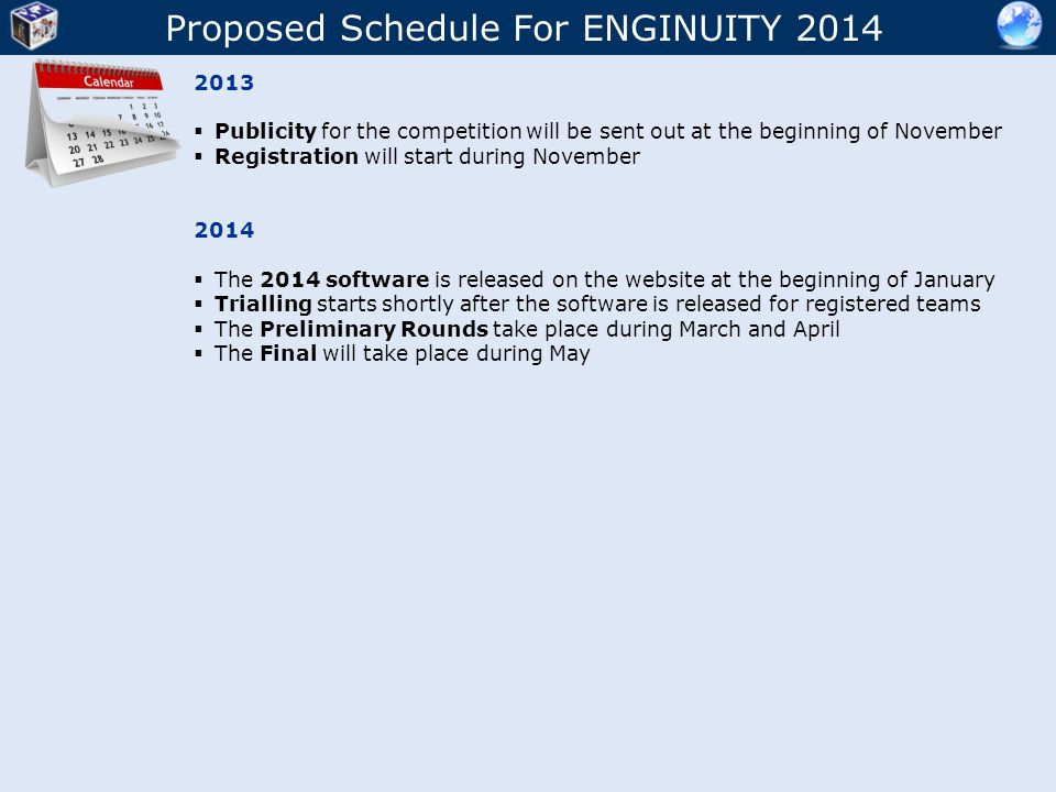 Proposed Schedule For ENGINUITY 2014