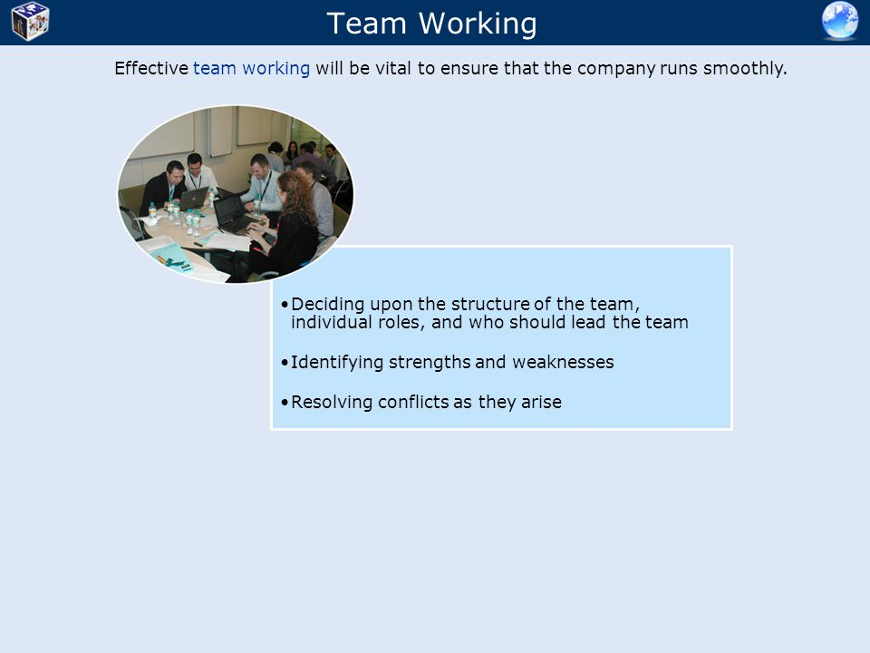 Team Working Effective team working will be vital to ensure that the company runs smoothly.