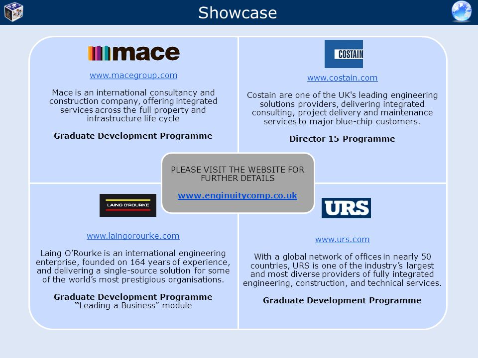 Showcase PLEASE VISIT THE WEBSITE FOR FURTHER DETAILS www.enginuitycomp.co.uk. www.macegroup.com.