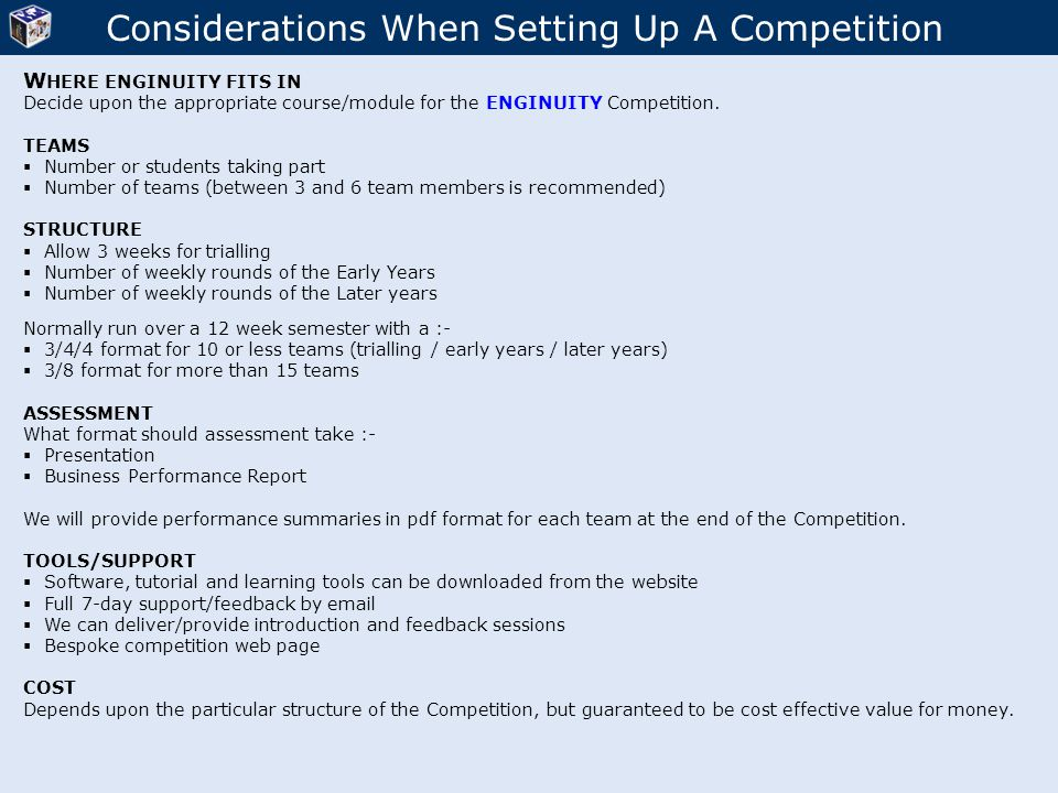 Considerations When Setting Up A Competition