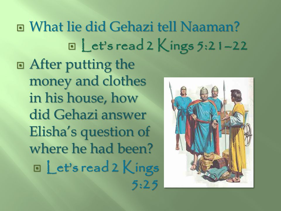 What lie did Gehazi tell Naaman