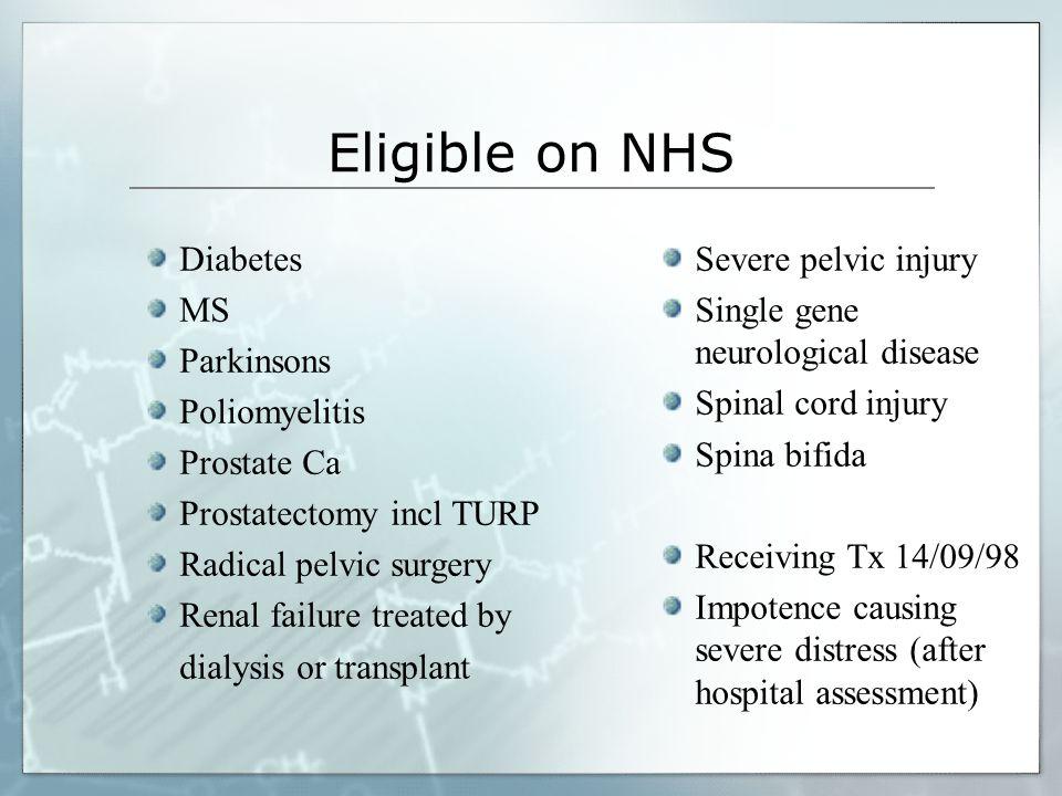 Eligible on NHS Diabetes MS Parkinsons Poliomyelitis Prostate Ca