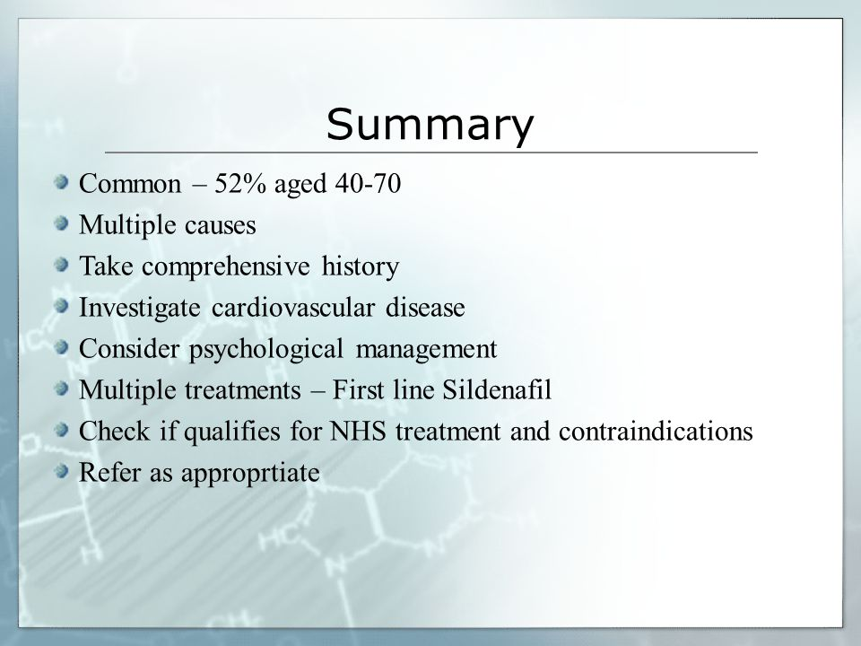 Summary Common – 52% aged 40-70 Multiple causes