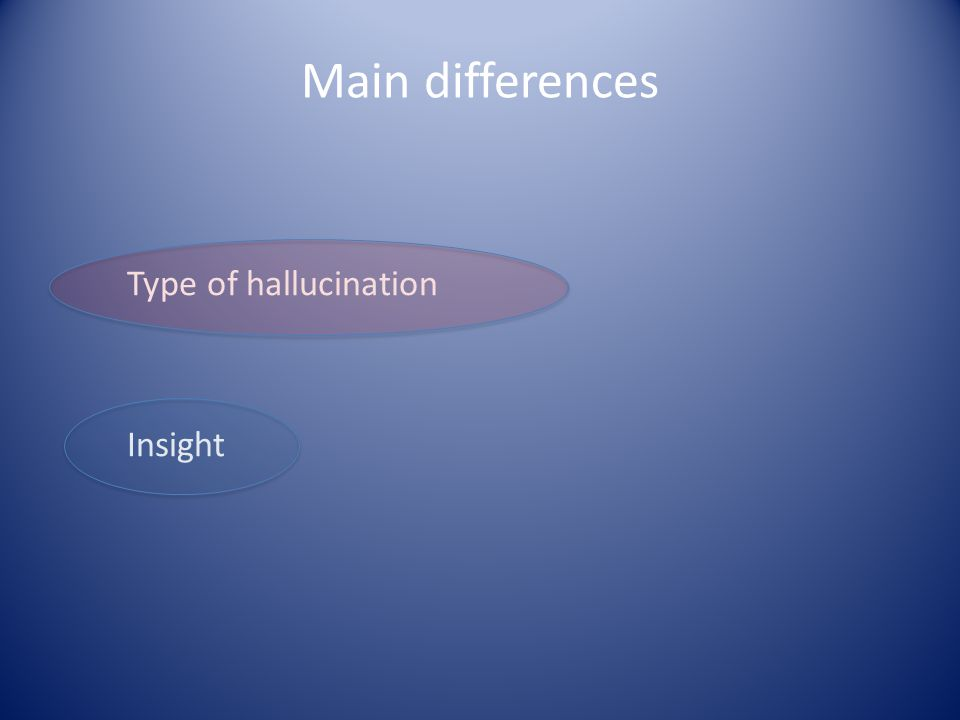 Main differences Type of hallucination Insight