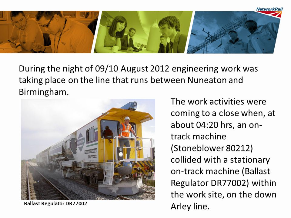 Collision between on-track machines near Arley, Warwickshire, on 10 August 2012