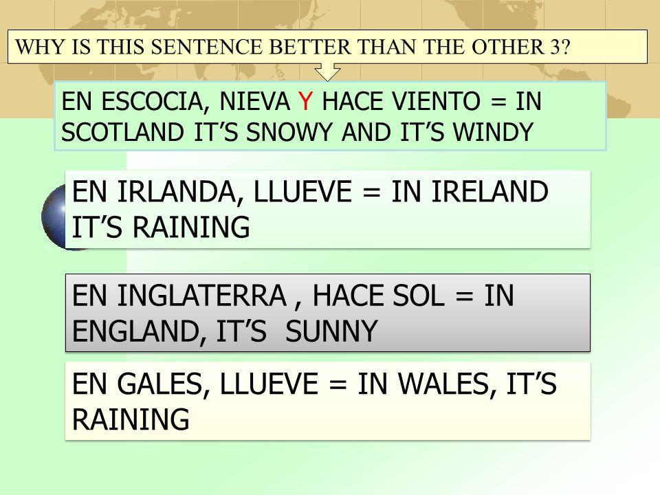 EN IRLANDA, LLUEVE = IN IRELAND IT'S RAINING