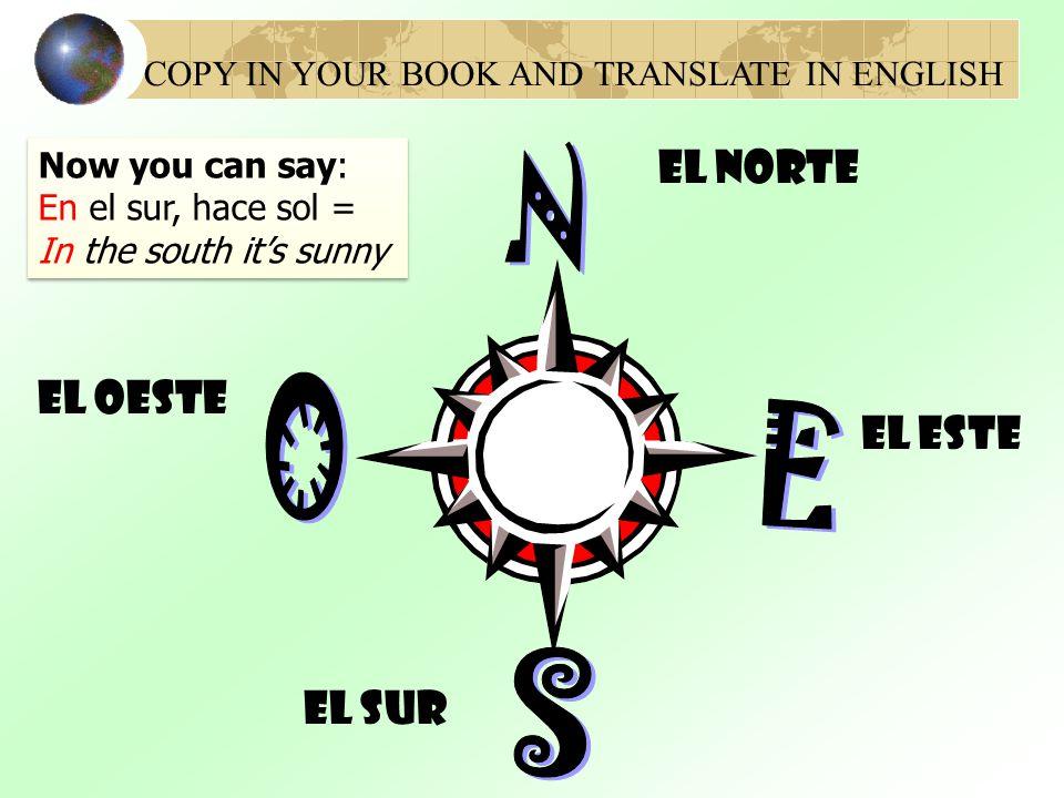 N O E S El Norte El oeste El Este El sur