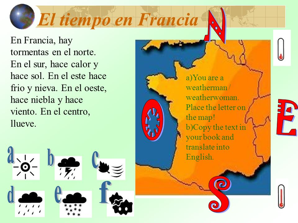 N O E S El tiempo en Francia a b c f d e