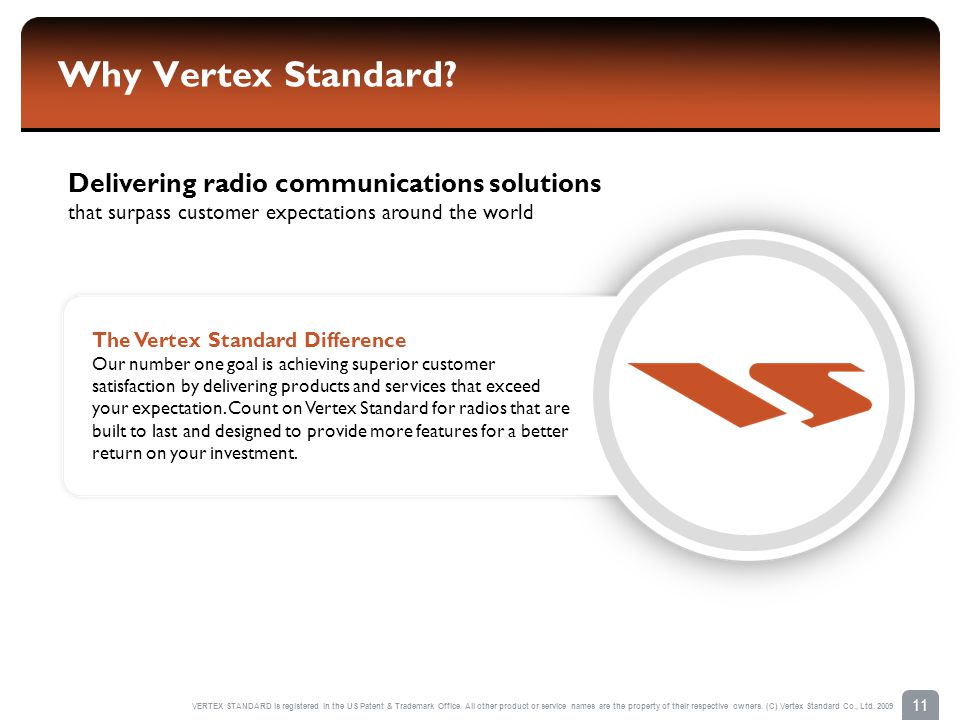 Why Vertex Standard Delivering radio communications solutions that surpass customer expectations around the world.