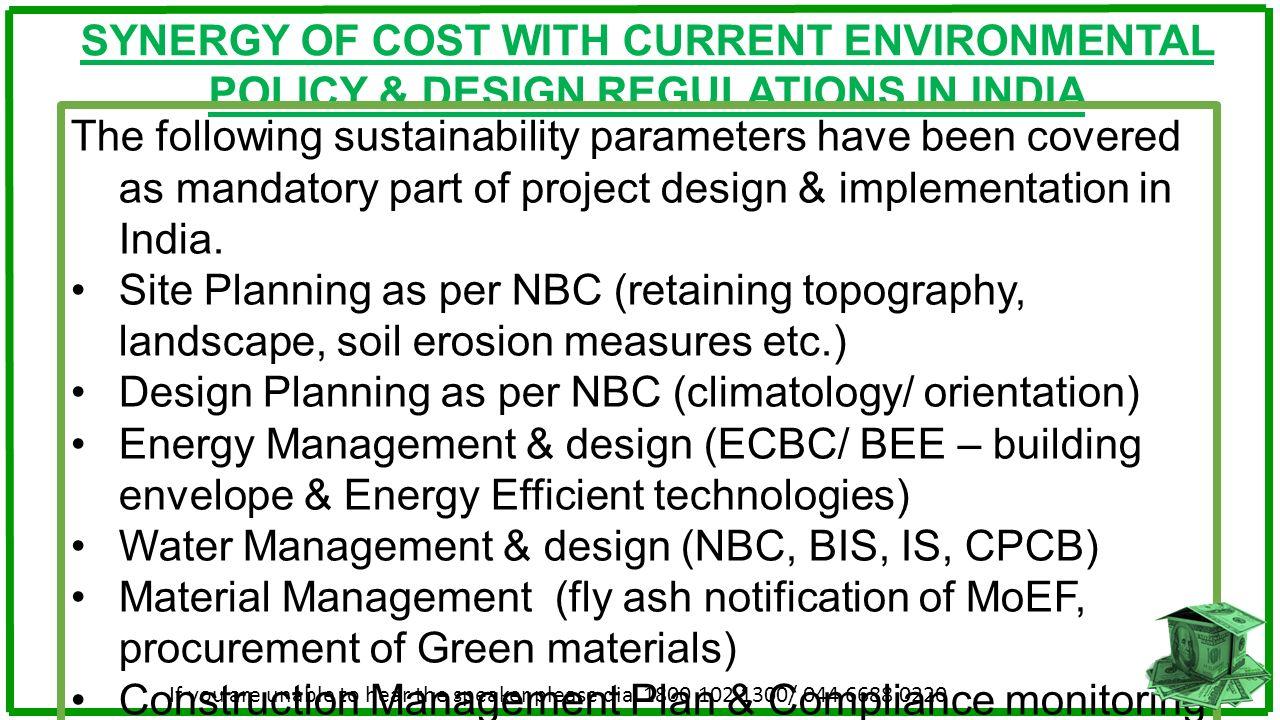 Design Planning as per NBC (climatology/ orientation)