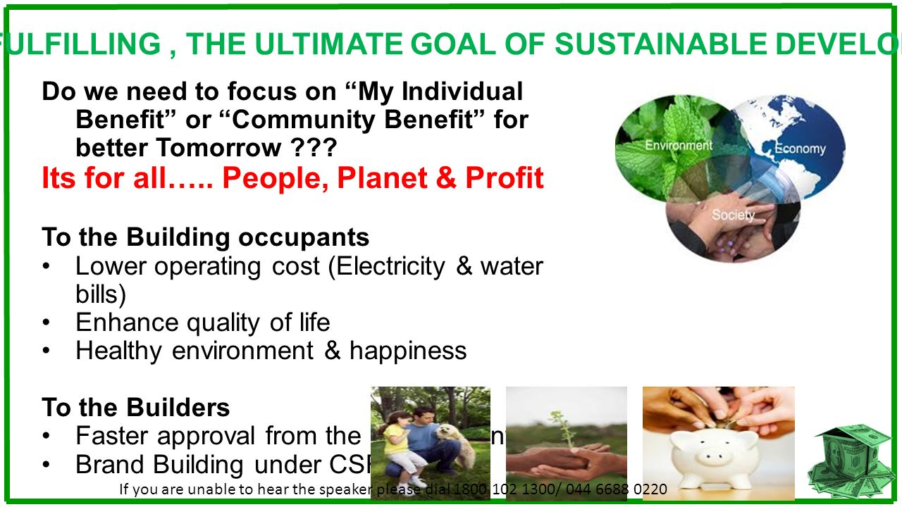 GREEN FULFILLING , THE ULTIMATE GOAL OF SUSTAINABLE DEVELOPMENT