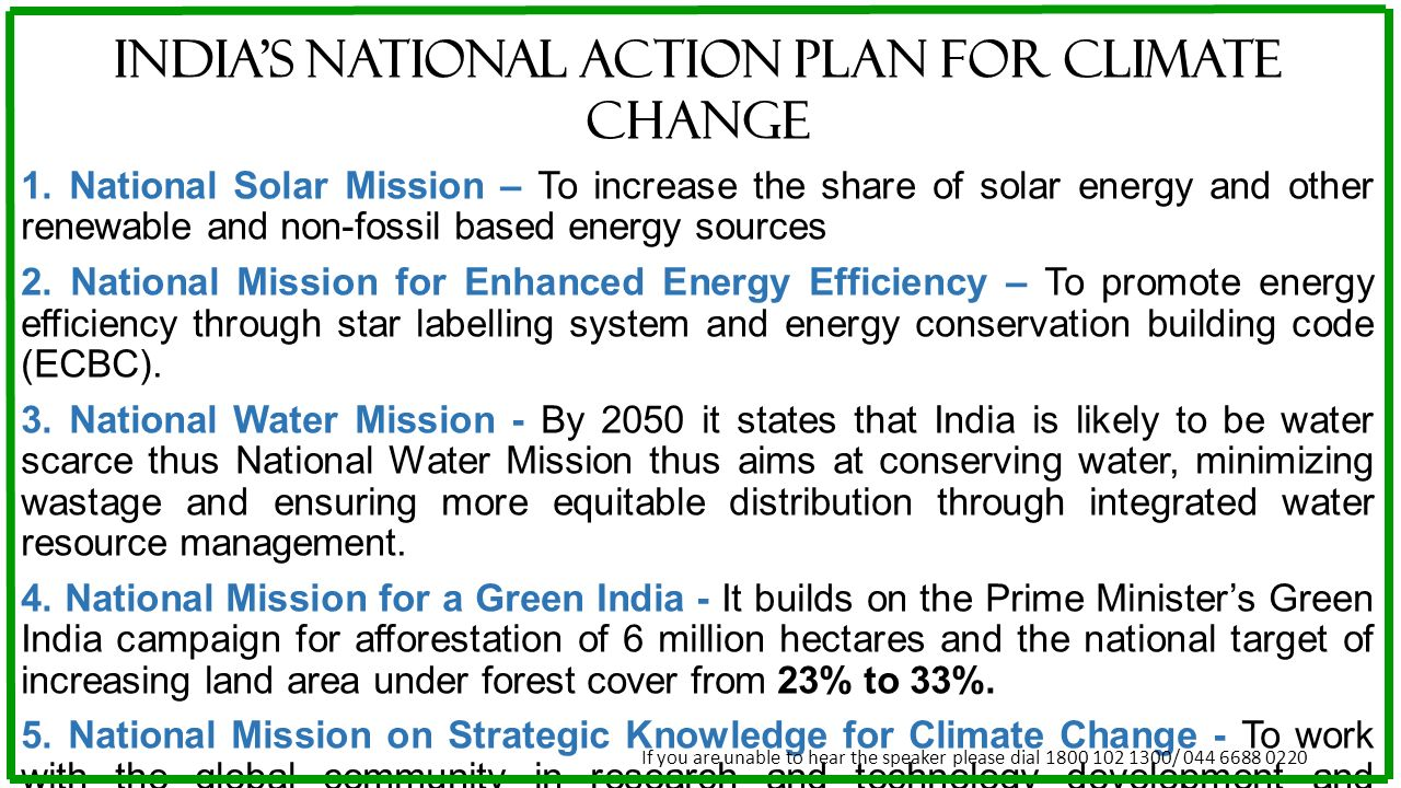 INDIA'S NATIONAL ACTION PLAN FOR CLIMATE CHANGE