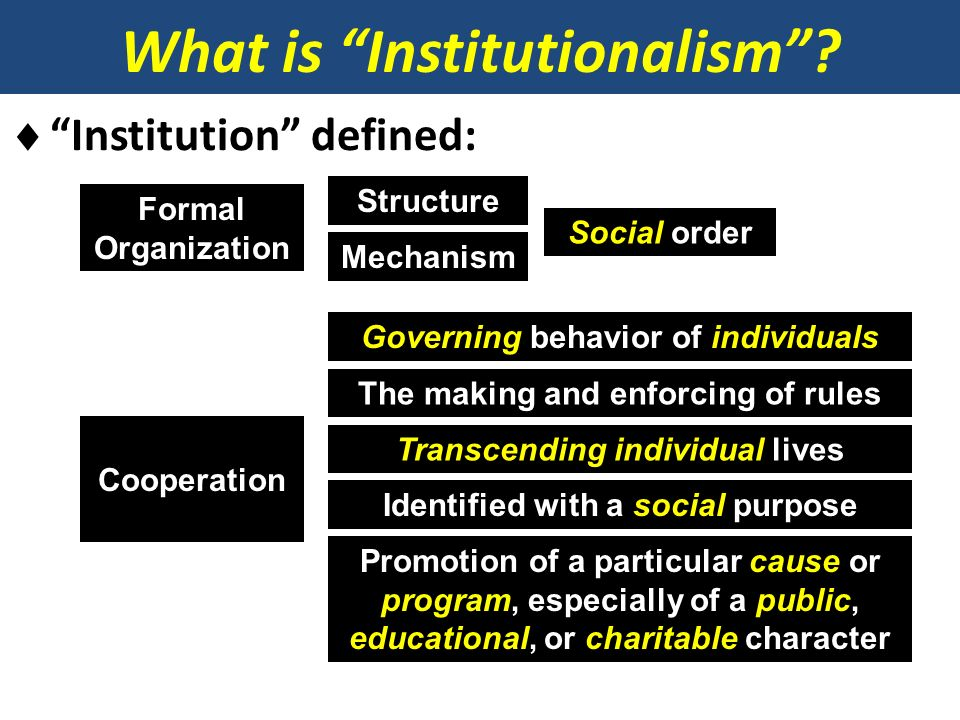 What is Institutionalism