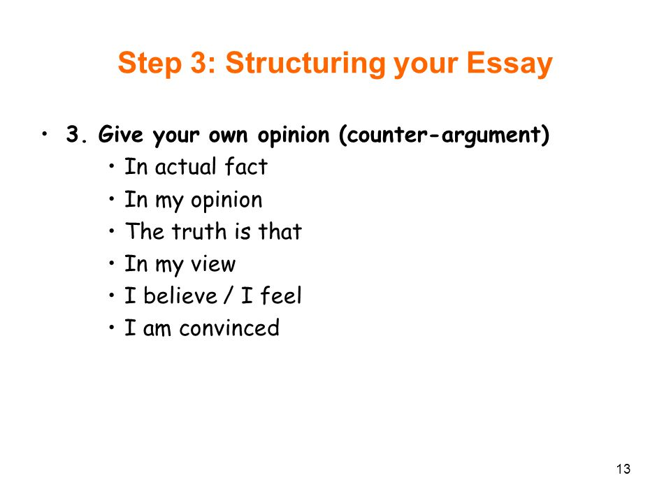 Step 3: Structuring your Essay