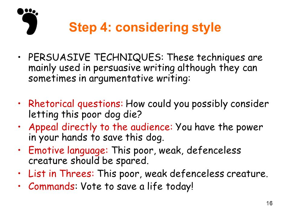 discursive writing ppt video online  16 step 4 considering style persuasive techniques