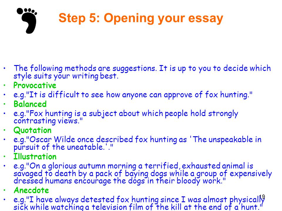 Step 5: Opening your essay