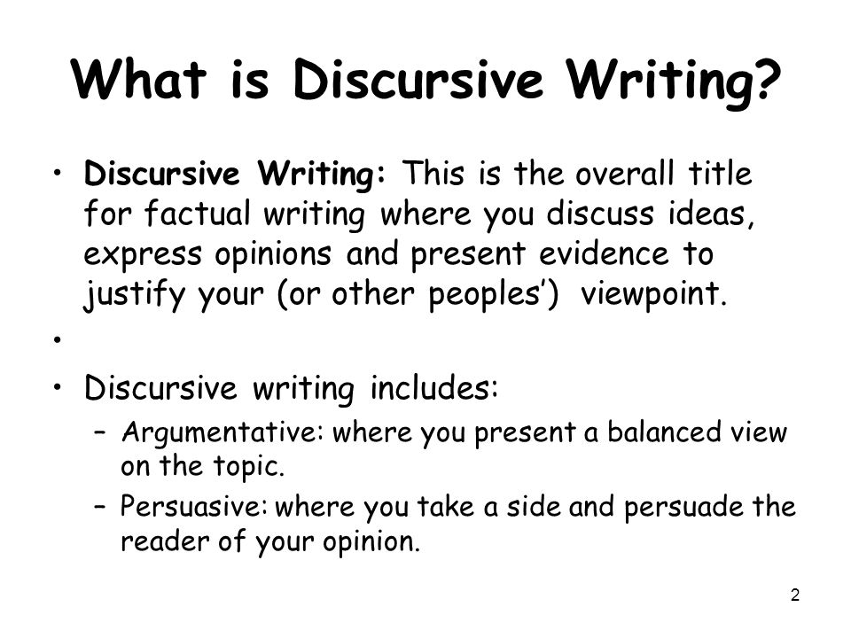 Writing a discursive essay