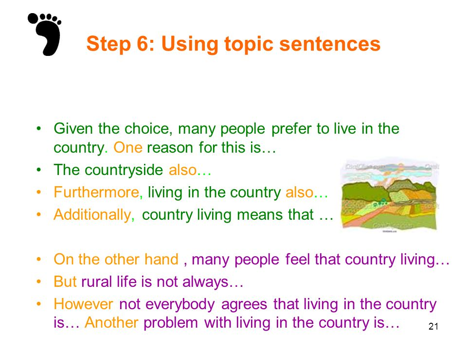 Step 6: Using topic sentences