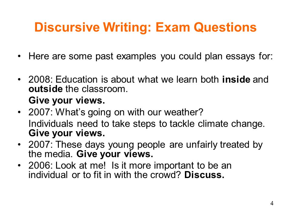 discursive essays examples The thesis is the essence of an argumentative essay in a single, clear sentence, it sums up what point you are trying to make the thesis statement should assert a position on a particular issue -- one that a reader can potentially argue against therefore, the thesis cannot be a fact for example, if a professor assigns the.