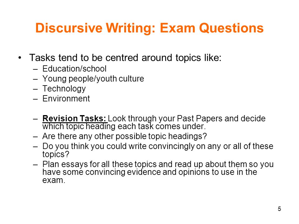 Discursive Writing: Exam Questions
