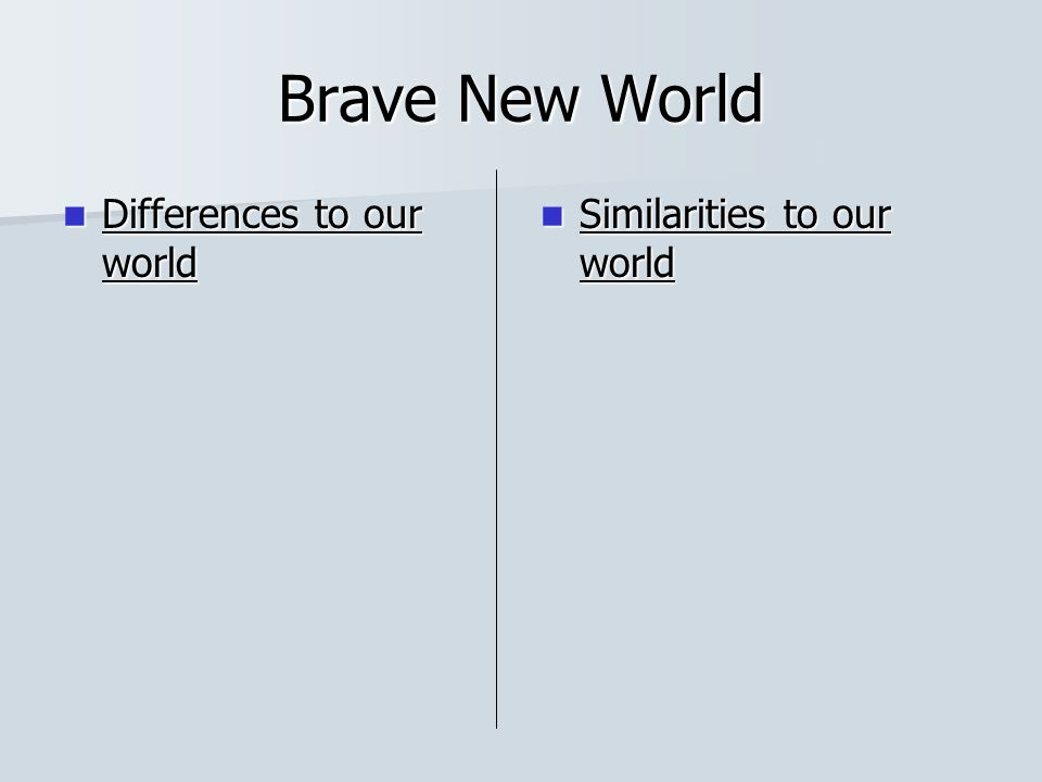 Brave New World Differences to our world Similarities to our world