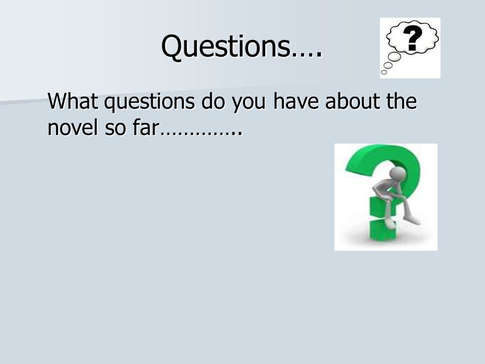 Questions…. What questions do you have about the novel so far…………..