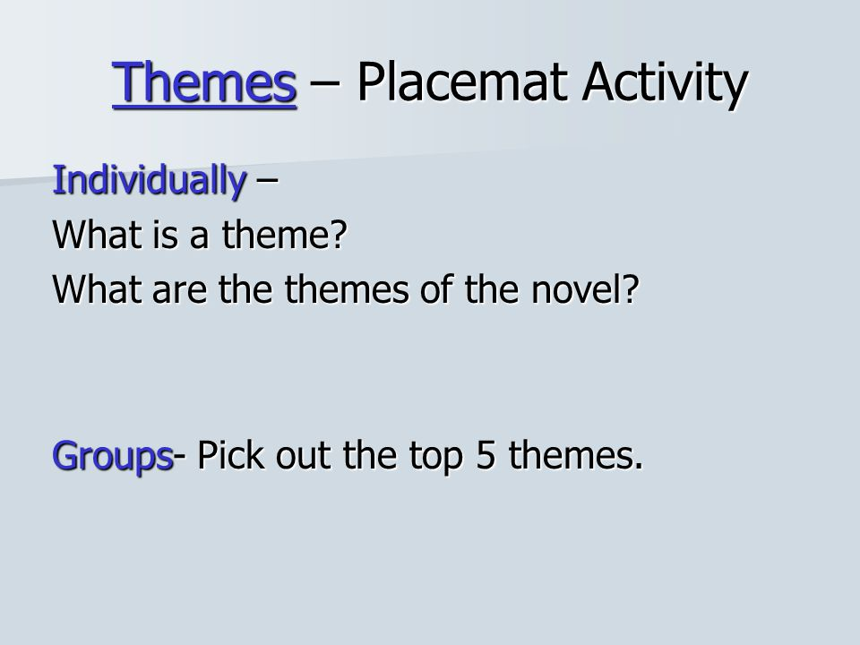 Themes – Placemat Activity