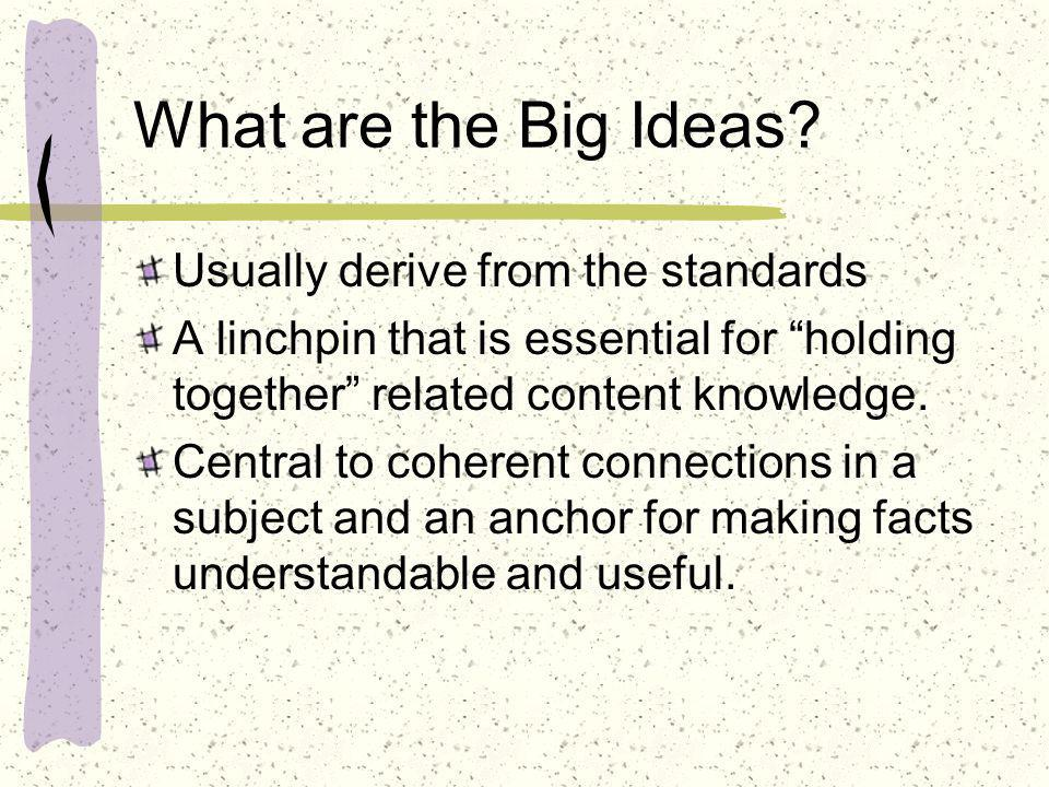 What are the Big Ideas Usually derive from the standards