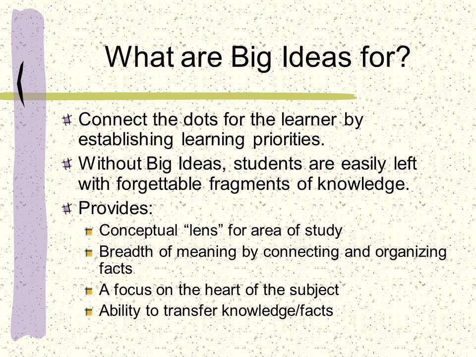 What are Big Ideas for Connect the dots for the learner by establishing learning priorities.