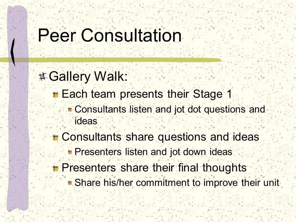 Peer Consultation Gallery Walk: Each team presents their Stage 1