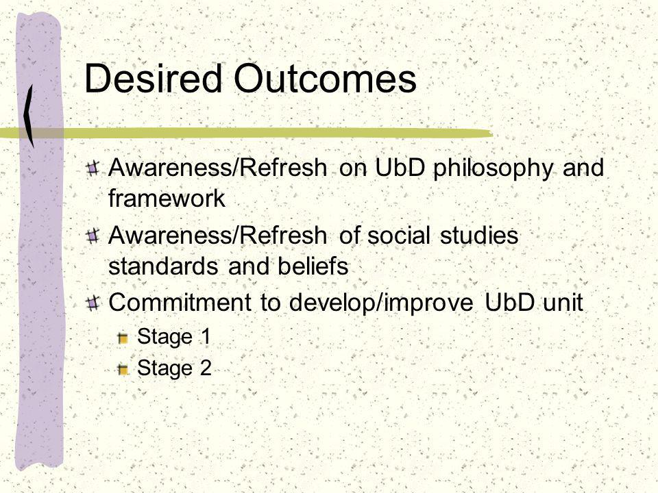 Desired Outcomes Awareness/Refresh on UbD philosophy and framework