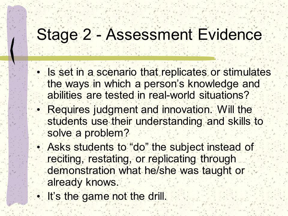 Stage 2 - Assessment Evidence