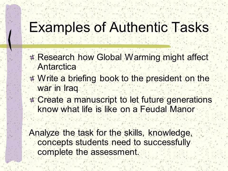 Examples of Authentic Tasks