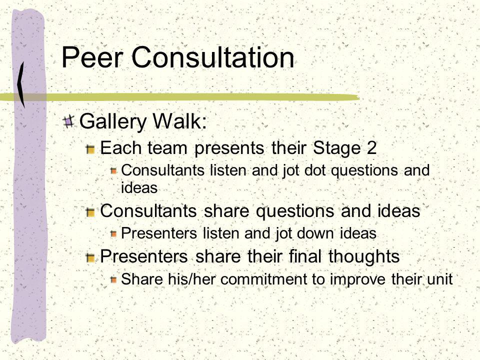 Peer Consultation Gallery Walk: Each team presents their Stage 2
