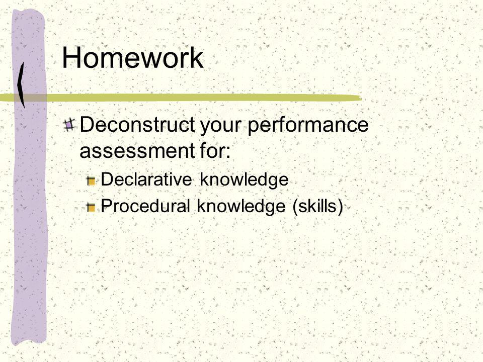 Homework Deconstruct your performance assessment for: