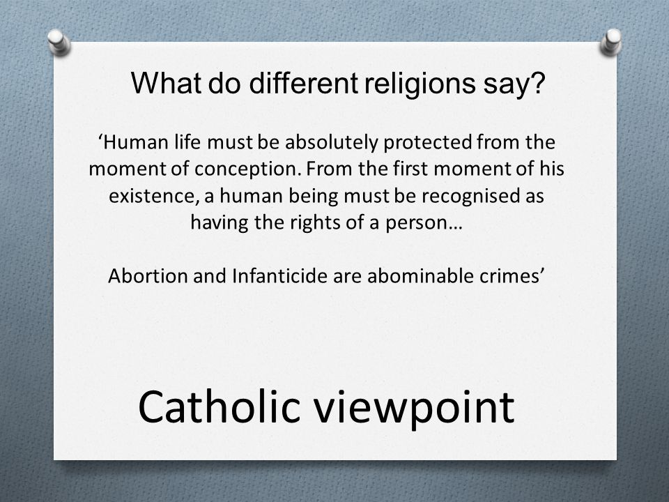 Catholic viewpoint What do different religions say