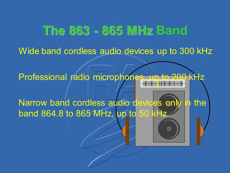 The 863 - 865 MHz Band Wide band cordless audio devices up to 300 kHz