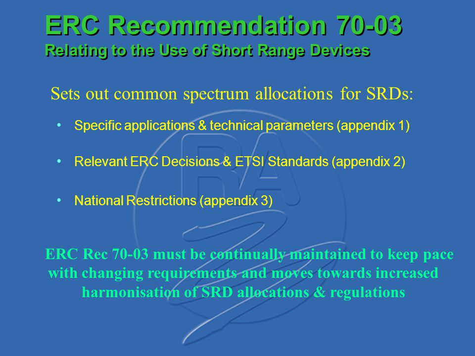 ERC Recommendation 70-03 Relating to the Use of Short Range Devices